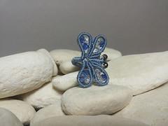 margarete libellula anello (elenagb) Tags: dragonfly ring libellule anello macram margaretenspitze
