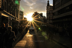 London HDR Sunset (photowarrington) Tags: light people urban sun sunlight abstract london movement view dusk perspective streetphotography dramatic busy flare lives moment sunspot 2014 hussle canon600d