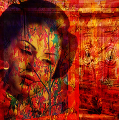 Autumn Geisha (virtually_supine popping in and out) Tags: abstract collage photomanipulation doors creative vivid autumncolours textures geisha montage layers mapletree brightcolours hss digitalartwork crazygeniuses sliderssunday photoshopelements9 mixmasterchallenge2 chefsandyabstractartangel77