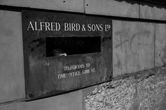 a letter for alfred (downhamdave) Tags: uk england bw white black west monochrome birds canon eos mono birmingham raw factory mail box letter custard acr midlands digbeth 60d elements13