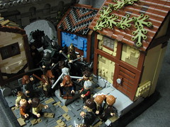 LoM UC: Main (Micah the Fire-Breathing Hobbit) Tags: city roof horse statue wall soldier army riot hand lego stonework crowd medieval tudor cobblestone story fantasy hood cloak tale lom warg grueling
