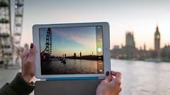 Dusk in London on an iPad (Colin_Evans) Tags: bridge sunset london water westminster thames river dawn dusk londoneye bigben screen riverthames ipad