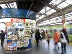 Shinjuku Station, Tokyo, Yamanote platform (Seb Ian) Tags: people station japan shop retail train tokyo shinjuku transport platform passengers trainstation kiosk rushhour yamanote yamanoteline