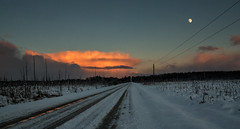 On The Road Again (cindiefearnall) Tags: winter sunset moon ontario lines rural twilight moonrise backroad