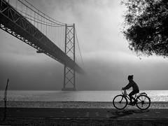 Morning without left bank (josaraujo) Tags: bridge bw portugal bicycle fog river blackwhite lisboa lisbon foggy olympus tagus omd byke em10 mzuiko17mmf18
