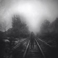 Disappear (Holga-Jen) Tags: portrait blackandwhite woman painterly girl fog square photography ghost gothic digitalart traintracks foggy tracks cellphone surreal railway imagination haunting dreamy textured apps iphone disappear mobilephotography iphoneography snapseed mextures unionapp
