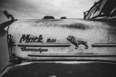 Mack B61 (GnarlyRelics) Tags: auto old sky blackandwhite bw usa dog white tractor black west classic monochrome lines car clouds rural truck vintage outside mono nikon rust automobile texas antique decay tx country rusty automotive bulldog explore ornament fender forgotten d750 vehicle hood tamron mack b61 bobtail abaondoned 2470mm thermodyne rurex texploration