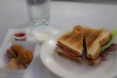 B.L.T. at K's (littlefishworm1) Tags: food water glass mushrooms 50mm prime sony plate sandwich cauliflower restaraunt fried kays sauces blt canonfd nex5n