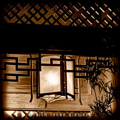 Seattle Chinese Garden (faith locke siewert) Tags: architecture garden chinese seattle pagoda lamps lighting shadows sepia