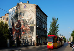 Tram & Art (RafalZych) Tags: lodz poland europe polska mural muralism street art grafitti outdoor artur arthur fuji fujifilm x100 color piano tenement house d urban gallery forms pomorska borondo tram tramwaj zbiorkom komunikacja miejska konstal