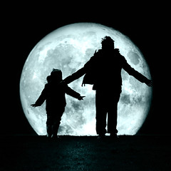 Loving The Moon (Philip R Jones) Tags: silhouette wind windy blowing children boys bluemoon pose embrace ps photoshop