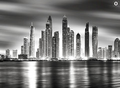 ~ Dubai Marina view from The Palm ~ (Chirag Khatri) Tags: nikon d7200 voigtlander cosina skyline cityscape panorama night longexposure bnw black monochrome white light mydubai nikonnofilter nikontop landscape ocean beach sea sky clouds dreamy flickrheroes flickr dxb dubai uae marina dubaimarina palm jumeirah