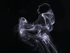 Smokey Joe and his Saxophone (zuni48) Tags: smokeart smoke monochrome blackbackground ethereal abstract