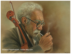 Not Even Violin Satisfies anymore (saeedpanahzadeh) Tags: original painting pastel middleeaste middle east oil oilpainting pastelpainting