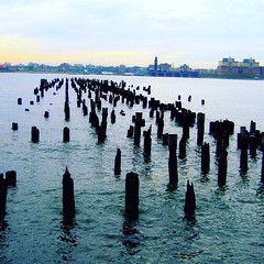 The River Graveyard (Stardustrose22) Tags: nyc bay water evening dark sunset river wood pier