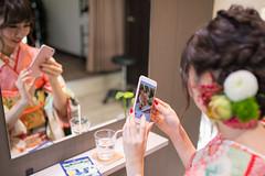 Young kimono girl taking selfie picture in beauty salon (Apricot Cafe) Tags: img4926 20s asianethnicity japan japaneseethnicity kimono sigma35mmf14dghsmart tokyo beauty beautysalon ceremony culture enjoy hairsalon happiness oneperson peaceful seijinshiki woman youngadult minatoku tkyto jp