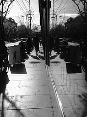 Memories of a Metropolis (YAZMDG (16,000 images)) Tags: structures buildings architecture metropolis citycbd melbournevictoria australia nb mono monochrome monochromatic bw contrasts reflections window glass pavement footpath pedestrians