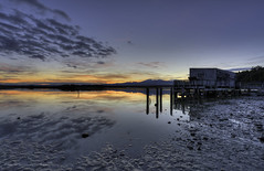 The Wharf (ELX_Images) Tags: elxphotography landscape newzealand okarito outdoor reflections relax trees clouds colors dawn holiday lagoon light nature peaceful recreation sea serenity sky stones sunrise water wharf