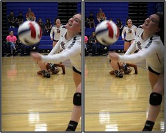 Alvin Yellowjackets at Dickinson Gators, Dickinson, Texas 2016.10.14 (fossilmike) Tags: dickinson texas alvinhighschool volleyball 3d crosseye