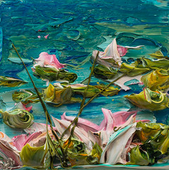 JUSTIN GAFFREY-WS12X12-2016-212 (Justin Gaffrey) Tags: waterscape water lillies waterlillies lilliepads reeds nature lake art artist painting acrylicpaint blue green justingaffrey 30a sowal florida