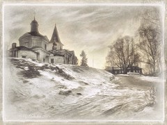 Winter  Tarusa. (odinvadim) Tags: mytravelgram paintfx textured textures iphone editmaster travel iphoneography sunset evening iphoneonly church painterly artist snapseed landscape photofx specialist iphoneart graphic painterlymobileart