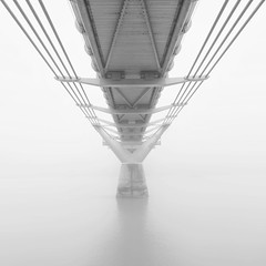 Millenium Bridge (Giles McGarry (formerly kantryla)) Tags: bridge fog london milleniumbridge panorama stitch mono blackandwhite highkey thames uk