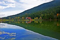 Reflection (EAO72) Tags: lake woods reflection cottage fall bolu turkey trkiye yansma gl sonbahar