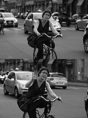 [La Mia Città][Pedala] salutando (Urca) Tags: milano italia 2016 bicicletta pedalare ciclista bn bw 90013 ritrattostradale portrait dittico bike bicycle biancoenero blackandwhite
