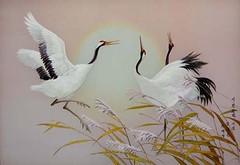 Grues dansant de joie - cho ae young - broderie (nokoredstar) Tags: aquarelle peinture coréedunord pyongyang paysage broderie