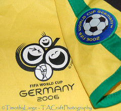 1071 of 1096 (Yr 3) - Borrowed camera test. .. . (Hi, I'm Tim Large) Tags: nikon d50 old digital camera dslr football soccer game strip yellow green brazil fa 1855mm tabletop stilllife 2006 365 366 germany fifa team players world cup
