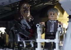 Chewie, we should be in a home (tomtommilton) Tags: lego legography toy toyphotography macro starwars theforceawakens hansolo chewbacca old home millenniumfalcon wheelchair zimmerframe movie oldage