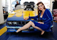 Holly_9657 (Fast an' Bulbous) Tags: promodified plymouth cuda v8 supercharged drag strip race track car vehicle automobile girl woman blur velvet dress wiggle long brunette hair hot sexy chick babe high heels stiletto shoes silk seamed stockings model pinup people classic oldtimer muscle