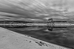 Lone Rock Infrared (MichellePhotos2) Tags: lonerock ir infrared glencanyon bw blackandwhite longexposure nikon d800e nikond800e prime 20mm lonerockbeach lake powell lakepowell arizona canyon cliffs vermillioncliffs river coloradoriver reservoir beach shore
