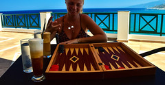 Lucky Roll (free3yourmind) Tags: lucky roll dice dices turn tavli backgammon play game irina girl coffee coffes sea balcony greece ikaria icaria