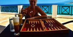 Lucky Roll (free3yourmind) Tags: lucky roll dice dices turn tavli backgammon play game irina girl coffee coffes sea balcony greece ikaria icaria