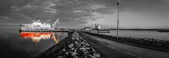 Coloured Reflection (MBDGE) Tags: orkney sea scotland ship seascape sun port pier kirkwall harbour hatston canon70d colour mono cloud clouds offshore subsea7 bridge
