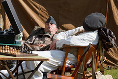 WWII re-enactors asleep on the job (Paul Braham Photography) Tags: ariel bike wwii motorbike duxford airforce reenactors raf imperialwarmuseum iwm waaf wraf