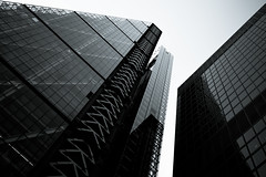 Polygonal Perspective (Skuggzi) Tags: city uk england urban blackandwhite bw building london geometric glass monochrome lines architecture modern facade skyscraper dark grid office triangle unitedkingdom britain geometry steel lookingup lookup block hightech iconic rectangle futuristic technoir cityoflondon leadenhall cheesegrater