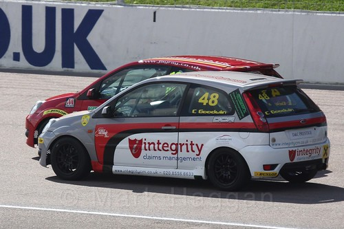 Samuel Priest and Callum Goodwin in Fiesta Racing at Rockingham, Sept 2015