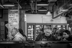The Lunch Counter 2 (TomCollins) Tags: seattle street people blackandwhite pikeplacemarket lunchcounter