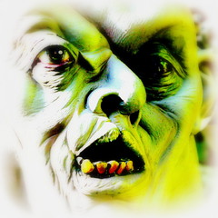 torment ~ 2r1 (milomingo) Tags: green texture halloween face closeup scary mask display grain spooky horror haunting photoart gruesome ghastly disfigured twoareone a~i~a