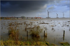 Mersey Gateway Project (Very high tide today) 16th November 2016 (Cassini2008) Tags: merseygatewayproject spikeisland widnes rivermersey bridgeconstruction hightide rubricabridgeswingtraveller
