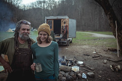 Jim and Michaele. (gianteyephotography) Tags: camping red wild truck river fire sticks cabin woods kentucky smoke cook gorge knives wilderness dreads camper