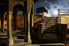 Moody night - Varanasi, India (Maciej Dakowicz) Tags: india varanasi benares night animal cow mood atmosphere moody religion smoke