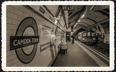 Camden Town. (Suggsy69) Tags: blackandwhite bw london station blackwhite nikon camden tube londonunderground camdentown tubetrain d5100
