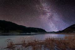 Stars and frozen water (pixadeleon) Tags: lake mountains ice water stars frozen einsiedeln milkyway starlight sihltal milchstrasse sihlsee challengegamewinner