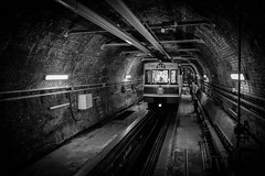 Tnel in Istanbul, is the second-oldest extant subterranean urban rail line in the world (Mustafa Selcuk) Tags: transportation metro sokak siyahbeyaz bw bnw blackandwhite streetphotography street 2016 beyoglu fujifilm istanbul istiklal turkey xpro2