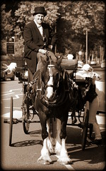 Horse drawn carriage (* RICHARD M (Over 5 million views)) Tags: heskethpark southport sefton horse horsedrawncarriage coachman smiles happy happiness sepia mono monochrome merseyside tophat topper silkhat morningdress horses horseandcarriage street landau landaucarriage landaulet landauletcarriage
