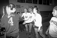 IMG_3464 (SJH Foto) Tags: girls volleyball high school lancaster mennonite elco eastern lebanon team tween teen east teenager varsity tamron 1024mm f3545 superwide lens pregame ceremonies ref referee captains coin toss handshake coach black white blackandwhite bw monocolour