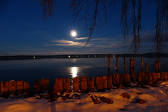 Good Night (evisdotter) Tags: evening moon light trees snow sky reflections sooc sjkvarteret mariehamn land